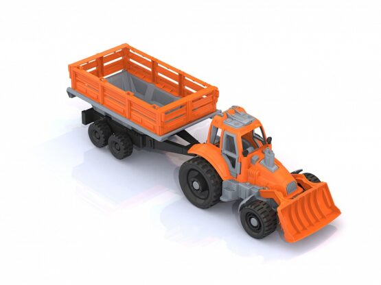Трактор с грейдером и прицепом-1